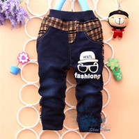 amd fashion - Hot Sale new arrive spring amd autumn baby boys Fashion eye plaid stitching Trousers Infant denim jeans pants V1073