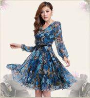animal print office - M XXXL Plus Size Bohemian Dresses New Fashion Elegant Women Casual Print Chiffon Maxi Long Dress For Office Lady