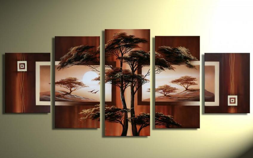 5 panel art paintings high quality handpainted modern for Best brand of paint for kitchen cabinets with underwater wall art