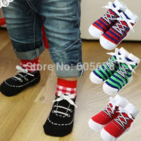 baby grip socks - color Shoe socks baby toddler boys ankle shoe like socks with grips for Little Girls T SIZE S M pair