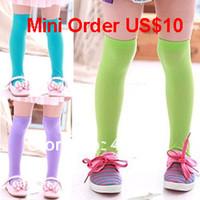 bamboo pile - Mini Order US baby girl socks Summer child knee high socks velvet pile socks candy color multicolor thin
