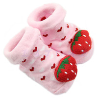 bamboo girls shoes - P80 Pair Cotton Strawberry Pattern Anti slip Soft Shoe Socks for Baby Girl Month