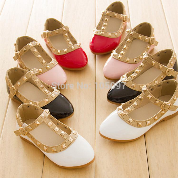 New Baby Girl Toddler Kids Sandals Rivet Buckle T-strap Flat Princess Shoes Size