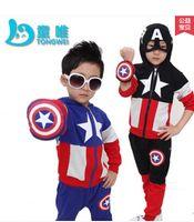 america suit jacket - 1PCS piderman Children Clothing suits set Captain America sports hoodie jacket pants kids Sweatshirt trousers Autumn clothing