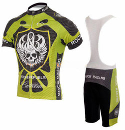 Cool Skeleton Skull Rock Racing TEAM Short Sleeve Green Cycling Jersey + Bib Short Size:S-XXXL