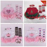 baby boy santa outfit - 4pcs Newborn Infant Baby Girls Boys Headband Romper Leg Warmers Shoes Cupcake Sets Christmas Santa Costume Outfits Clothes