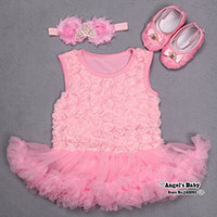 ballerina flower girl dress - Pink Rosette Dresses Tiara Headbands Flower Shoes Set Ropas Para Bebes Newborn Set Baby Girl Clothes Ballerina Slipper T0073