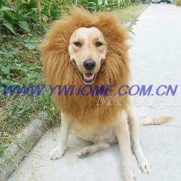 Большие костюмы для собак Онлайн-Большой кота собаки любимчика Лев Парики волос Мане партии фестиваль Необычные платья Костюм Одежда