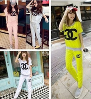 Cheap 2015 NEW Brand women clothing sets tracksuit sport Casual clothes sports wear top+sweatpants channel sweat suits for women