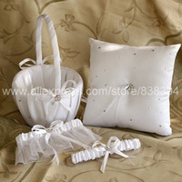 Wholesale Silk Wedding Guest Book - Wedding Ceremony Accessories White Silk Ribbon Flower Basket Guest Book Ring Pillow Garters Free Shipping
