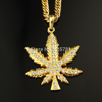 hip hop chain - 1pcs full crystal maple leaf long statement necklace K gold silver chain fashion men women jewelry hip hop lover gifts N109