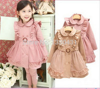 Wholesale 2015 hot sales children s clothing net yarn lace girls Trench spring autumn winter Outerwear amp Coats NVTONGO003