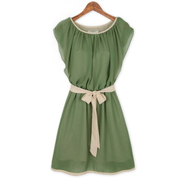 Green Chiffon Dresses Butterfly Sleeve Casual vestidos Lacing Belt Summer Style Plus size Dresses S-XXL wholesale