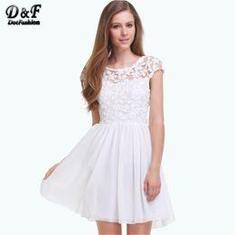 Brand Summer New Designer Saias Femininas Fashion Women Party Casual White Short Sleeve Floral Crochet Pleated Lace Dress
