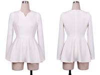 korea fashion blouse - 2015 casual Vintage fall Fashion Charming korea V neck Puff Long sleeves office formal Fitted Peplum Blouse T shirt Tops shirts