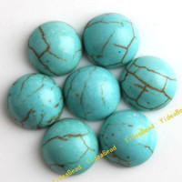 Wholesale 40 Turquoise Beads Flatback Turquoise Gemstone Cabochon Beads Diy Bead Stone Beads mm