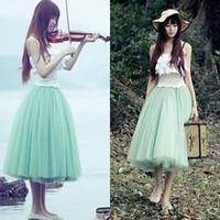 Wholesale New women summer Vintage puff skirt tulle skirt female sweet slim multi layer gauze bust full skrits