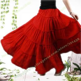 Bohême plissé jupe longue à vendre-Gypsy Bohemia BOHO Full Circle Coton Danse Rouge Noir Spani Femme Jupe longue élégantes plissés Casual Jupes longues avec des femmes