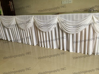 banquet table linen - 5 Pieces Luxury wedding table skirt with swag table skirting with pleated drape velcro table linen