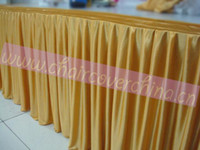banquet table skirts wholesale - polyester ice silk table skirts table skirting for wedding size cm long cm high