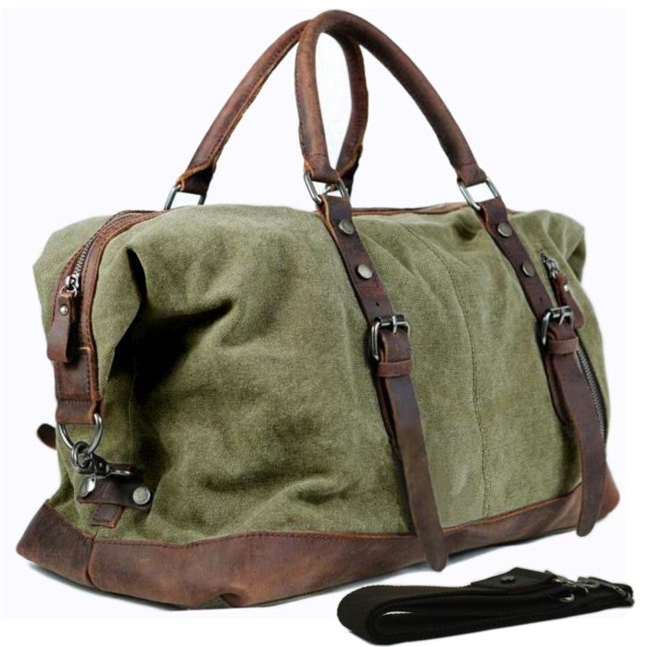 Vintage Military Leather Canvas Men Travel Bags Men Weekend ...