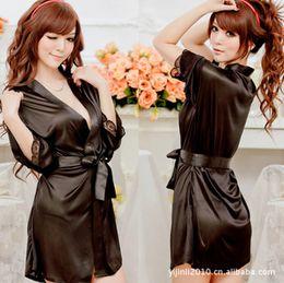 2015 Women Big Size Sexy Silk Bath Robe Lingerie Kimono Nightwear Bathrobe  Nightdress  Dressing Gown Cotton  Housecoat