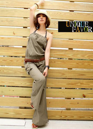 New Fashion Women's Jumpsuit~Sexy Strapless Cotton Leisure Pants Jumpsuit Army green