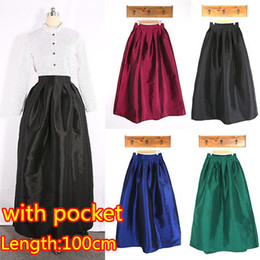 Wholesale Vintage Women cm Long Skirt New Fashion Spring Casual Ball Gown Pleated Skirt Women s Maxi Skirt With Pocket
