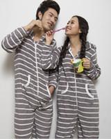 adult footed pyjamas - Adult Unisex Women Men Footed Pajamas Sleepsuit All in one Pyjamas Onesie Couple Sleepwear Clothes