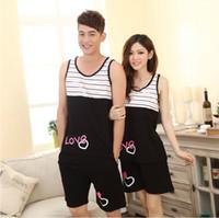 cotton nightgown - New Lovers Pajamas Sets Cotton Sleeveless Summer Sleepwear Short Cartoon Loose Casual Nightwear