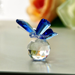 Wholesale Lovely Min Blue Crystal Butterfly Art Glass Paperweight Romantic Gift Lot Free Shipping Office Home Decor Four Colors Total
