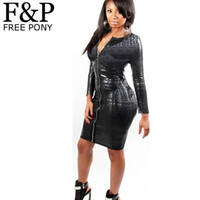 Wholesale 5XL XL Plus Size BBW Dress women clothing Sexy Black Snakeskin Faux Leather Bandage Dress Summer New Zipper Bodycon dress