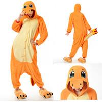 Wholesale Unisex Flannel Charmander Cartoon Animal Adult Onesie Sleepwear Cosplay Pajamas Costume KT037
