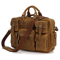 Cheap 2015 Very Hot Selling Rare Crazy Horse Leather Men's Briefcase Laptop Bag Travel Bag Leather # 7028B