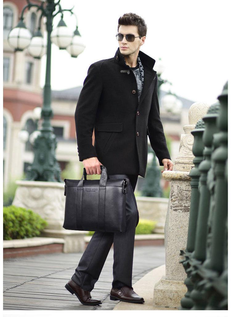 Lenwe Bolo Men Business Briefcase Leather Handbag Men Shoulder Bag ...