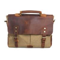 leather canvas laptop bag - Retro Vintage Canvas Suitcases Men Business Leather Briefcase inch Laptop Messenger Crossbody Bag Shoulder Handbags