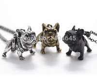 antique french bronze - 1 French Bulldog Vintage Animals Bulldog Charms Pendant Antique Bronze Antique Silver And Black