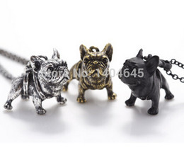 Wholesale 1 French Bulldog Vintage Animals Bulldog Charms Pendant Antique Bronze Antique Silver And Black