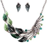 antique tibetan earrings - Antique Tibetan Silver Green Leaf Peacock Crystal Earrings Necklace