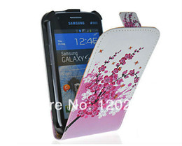 Multi Flowers Printed Leather Magnetic Flip Hard Case Cover For  Galaxy S DUOS S7562 Free Shipping W Tracking No