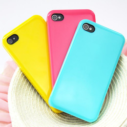 Wholesale Simple Design Solid Candy Color Protective Back Cover Case For Iphone S Assorted Colors