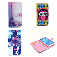 Wholesale Case For Samsung Galaxy S4 I9500 S IV GT i9500 Fashion TPU PU leather Wallet Stand Flip cell Phone Cases Flower Cover OA009