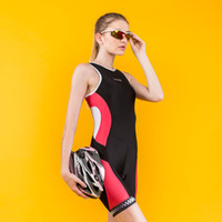 Wholesale Women s Ironman Triathlon Padded Tri Suit Bike Bicycle Cycling one piece Women Sleeveless Summer Coverall Jumpsuits