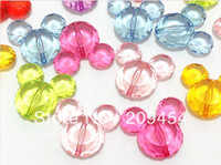 acrylic mouse - MM Transparent Acrylic Mickey Mouse Head Beads For Chunky Jewelry Making Free Shipment