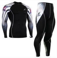 Wholesale No CPD_SET_38 FIXGEAR Skin tight Compression Base Layer Shirt Training Workout Gym MMA Long Sleeve Jersey amp Pants Leggings