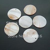 Wholesale 30MM Natural Shell Beads Flat Round Shape Stone Jewelry Bead