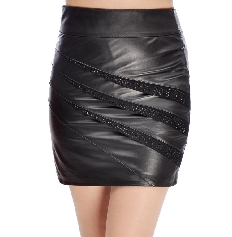 2017 big size genuine leather skirt sheepskin leather