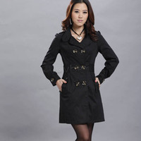Wholesale New Fashion Women Slim Double breasted Trench Coat Casual Long Outwear M L XL Sizes