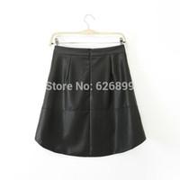 bd design - 2015 Brand Design Women Faux Leather Skirt Elegant Solid Color Midi Skirt A Line Style Slim Short Skirt BD