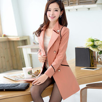 Wholesale factory autumn medium long women s Overcoat trench outerwear Women double breasted slim ladies Trench coat